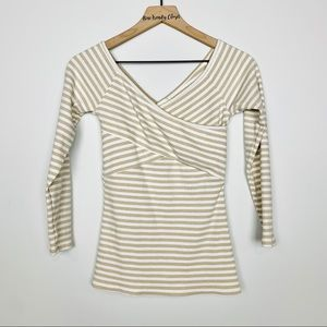 Anthropologie tan & white striped cross front top